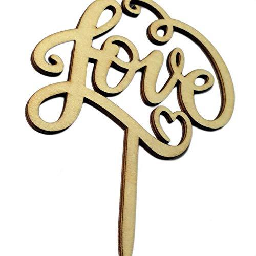 royalr Mode Hochzeit Geburtstags-Party-Kuchen-Dekoration Liebe-Kuchen-Deckel aus Holz Liebe-Zeichen Rustic-Verpflichtungs-Dekor