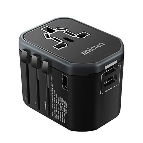 VELAZZIO Reiseadapter Universal Weltweiter Stromadapter für 150 Ländern Reisestecker mit 5.6A AC Steckdose 2 USB Type-C für Reise USA UK AUS EU usw (Schwarz) 60 110v Ac Power Adapter