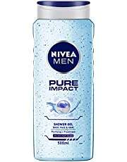 NIVEA MEN Hair, Face & Body Wash, Pure Impact Shower Gel, 500ml