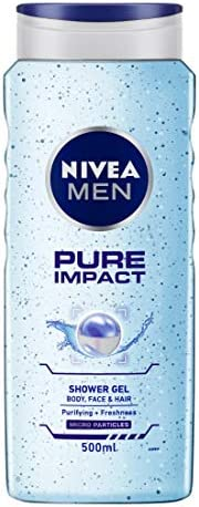 NIVEA Men Pure Impact Shower Gel, 500ml, Hair, Face & Body