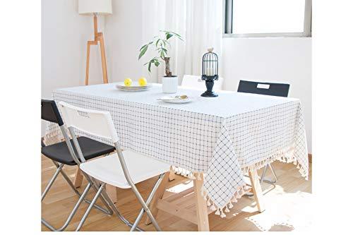 (GUOAI Nordic WeißE Blaue Linie Dicke Baumwolle Leinen Quaste Quaste Tischdecke Frischen Literarischen Einfachen Tisch Couchtisch Stoff,140 * 180cm)