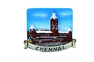 Bell Plaster of Paris Fridge Magnet (Chennai, Size 07.00 cm X 01.00 cm X 05.00 cm, Color : Multi Color)