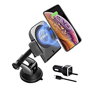 Invisible tech ROBOQI Qi-Certified Robotic Automatic Wireless Car Mount Charger Phone Holder with Sensor, Compatible with iPhone XS MAX/XR/X/8/8 Plus Samsung Galaxy Note 9/S9/S8