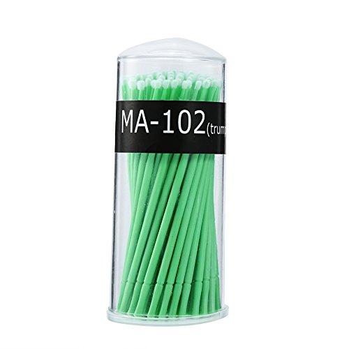 Micro Brush Jetable, 4 Types 100 PCS/Box Women Micro Mascara Brush pour Maquillage et Soins Personnels(Vert Moyen)