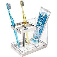 mDesign Soporte para cepillos de Dientes Independiente – Portacepillos con Espacio para 4 cepillos dentales y