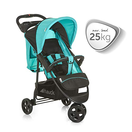 Hauck Citi Neo II 3 Wheel Pushchair up to 25 kg with Lying Position from Birth, Compact Folding, Lightweight Only 7.5 kg, with Cup Holder - Black Turquoise