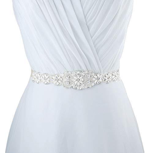 CHIC DIARY Damen Kristall Hochzeit schärpe Braut Gürtel Taillengürtel Haarband (Weiß)