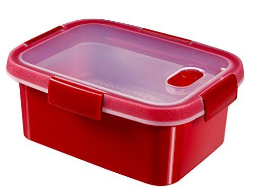 Curver  -  hermético Smart Micro Vaporera Rectangular 1,2L. - Apto para Microondas - Con Rejilla para Cocinar al Vapor - Descongelar y Recalentar - Color Rojo