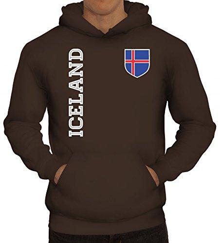 Island Fußball WM Fanshirt Gruppen Herren Hoodie Männer Kapuzenpullover Fan Trikot Iceland, Größe: XL,braun