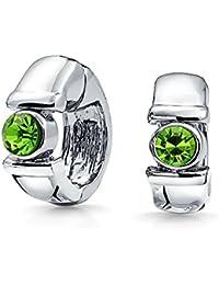Bling Jewelry Crystal Magnetic Huggie Hoop Clip On Earrings Rhodium Plated