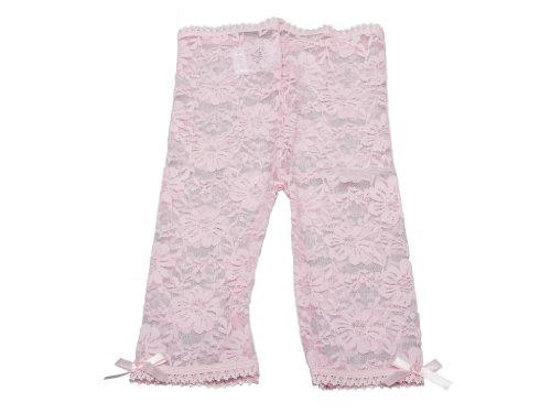 Baby Emporio - Spitzenleggings Babys & kleine Mädchen - elastischer Bund - Satin-Schleifen an Fersen - mit Geschenkbeutel - 6-12Monate - Rosa Spitze (Ausgefallene Kleider Für Kleine Mädchen)