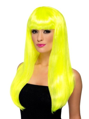Babelicious Perücke, Neon-Gelb Lang Glatt mit Pony