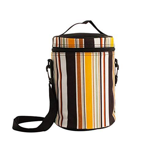 Streifen Vintage Lunchpaket wiederverwendbarer Reißverschluss tragbare runde Lunchpaket Lunchbox Tote Handtasche Aufbewahrungsbehälter mit abnehmbarem Schultergurt -