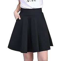 PengGeng Mujer Ocio Elasticidad Color Sólido Faldas Plisadas Corto A-Línea Falda con Bolsillo Negro L