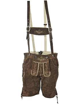 Herren Trachten Lederhose kurz dunkelbraun, Trachtenlederhose in Größen 44 bis 58