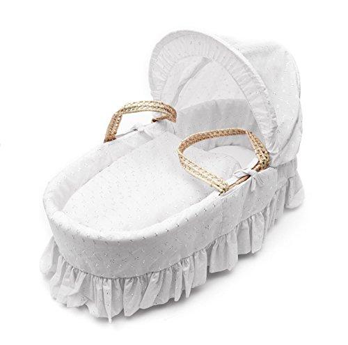 Juego de ropa de cuna para capazo, monocolor, con bordado inglés, con funda, sábanas y colcha (el capazo no está incluido) blanco blanco