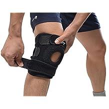 AGPtek Correa de rodillera, Protector deportivo ajustable para rodilla (Gimnasio, correr, baloncesto, saltar, caminar), Negro