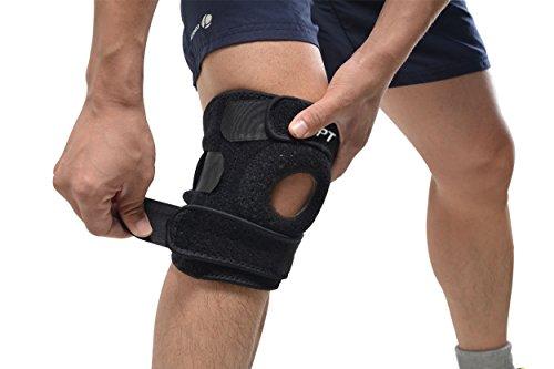 AGPTek Ginocchiera Regolabile con supporto dell'articolazione, ideale per Palestra, corsa, basket, saltare, camminare ect.., Nero