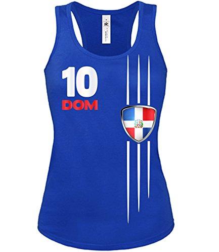 Dominikanische Republik Fussball Fanshirt 5479 Fan Shirt Tshirt Fanartikel Artikel Frauen Damen Tank Top Tanktop T-Shirts Blau S -