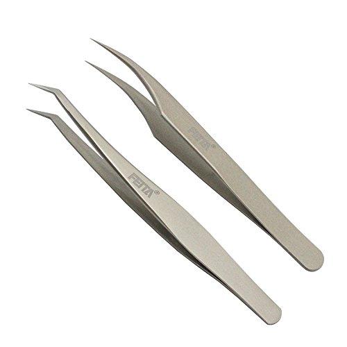 Feita Ensemble de pince à épiler de précision droite en acier inoxydable et courbée de précision Outil à Main Pour Faux cils, Extensions de cils, Nail Art, artisanat 2 pcs