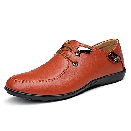 GRRONG Chaussures En Cuir Pour Hommes Confortable Loisirs Mode Noir Brun brown