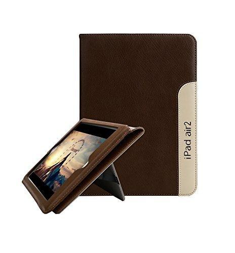 FAN SONG Custodia per iPad Air 2, Fansong Vera Pelle Smart Cover Stare in Piedi, Funzione Sleep/Wake Up per Apple iPad Air 2 (A1566 / A1567), Marrone