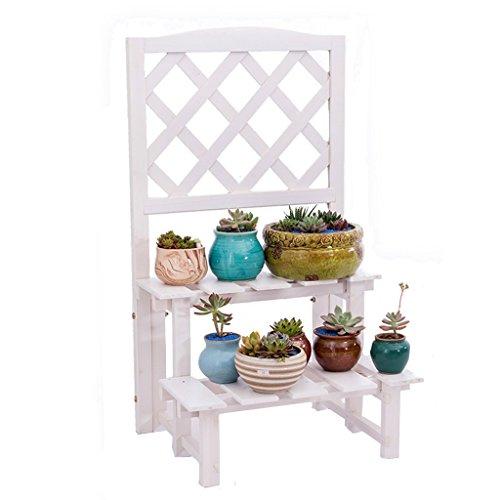 LXF Pots Plante Fleurs Étagère à fleurs Étagère à plantes Balcon en bois massif ( Couleur : Blanc , taille : 45*37.5*80cm )