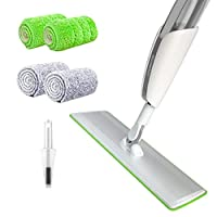 """BOOMJOY Spray Mop, Wet and Dry Dust Mop with 20"""" Extra Large Head, 4 Microfiber Pads, Floor Cleaning,Home and Office, 1 scraper, green"""
