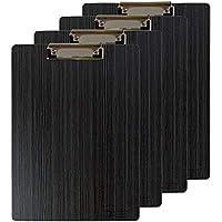 Portapapeles de Madera A4 con Pinza 4 Pcs Portapapeles de Oficina A4 Impermeable Tablero con Pinza Madera A4 Clipboards Menu Board con Hanging Hole Negro