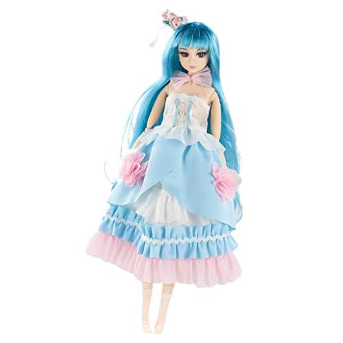 Baoblaze Movible Muñeca Girl Doll Articulada Figura Acción Femenina con Ropa Princesa a Escala 1/6 - Azul Claro