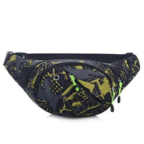 BZLine® Frauen Männer Camouflage Taille Rucksack Fahrrad Radfahren Sport Gürtel Tasche Gelb