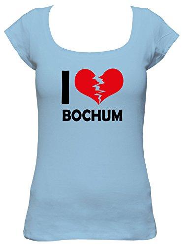 I don\'t love Bochum Fun Damen Boat Neck T-Shirt, Größe:XL;Farbe:hellblau