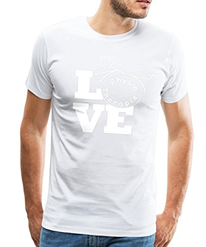Spreadshirt Love Physiotherapie Männer Premium T-Shirt, L, Weiß