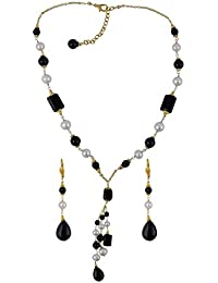 Cuti 16 Inches Freshwater Pearl And Black Agate Necklace Set For Womens.
