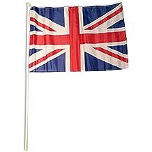 Bandera de Reino Unido montada en un palo de madera, recuerdo duradero de Londres o Inglaterra, 45 x 30 cm aprox.,  Souvenir. Una elegante bandera británica coleccionable de Reino Unido, de calidad. Bandera para animar en partidos de fútbol o rugby, un memorable y elegante souvenir británico. Bandera.