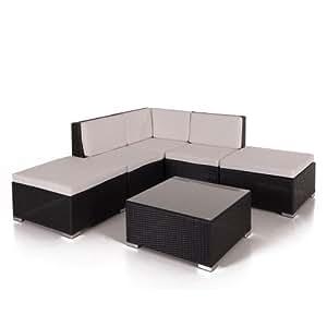 6-teiliges Poly Rattan Set mit Kissen