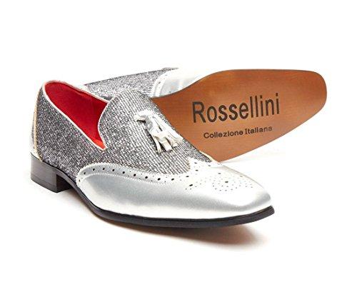 Herrenhalbschuhe fürs Faschingskostüm von Rossellini, glänzend-schimmernde Quasten-Schlupfschuhe, modische Partyschuhe Silber