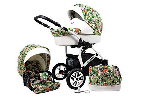 2 in 1 Kinderwagen Tropical, Kombi Babywagen Buggy Sportwagen Tropical Flowers