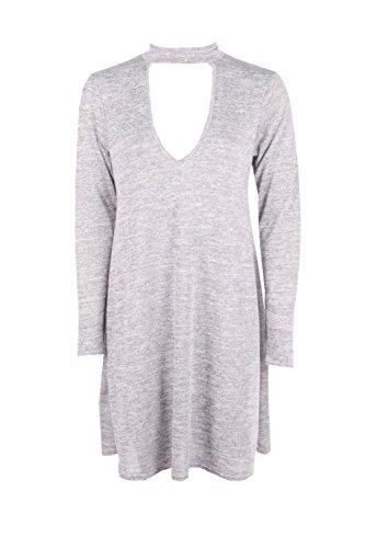 Grau Damen Amber Ausgestelltes Kleid Mit Wasserfallausschnitt Und Kropfband Grau