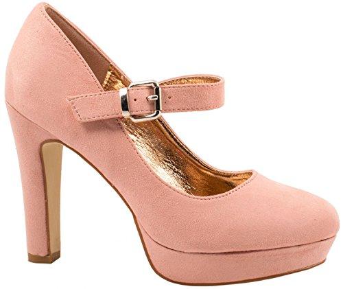Elara Decolletè con tacchi alti | Comode pump | Tacchi a spillo e cinturino | Color beige chunkyrayan., Rosa (rosa paris), 39