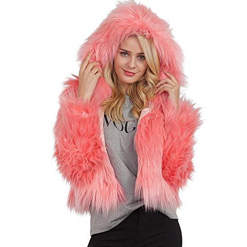 (iHENGH Vorweihnachtliche Karnevalsaktion Damen Herbst Winter Bequem Lässig Mode Frauen warme Kunstpelz Mantel Jacke Winter solide Kapuze Parka Oberbekleidung)