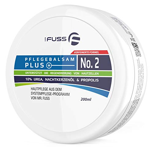 Mr. Fuss Pflegebalsam Plus No. 2 (200ml) Antihornhaut Fusspflege Creme 10% Urea Hautpflege Pflege sehr trockene Haut