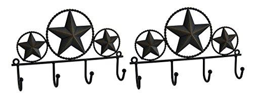 2Stück Rustikal Braun Western Stars Schlüsselhalter Wand Aufhänge-Set (Star Wand Western)