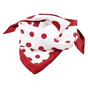 Red Dot Striped Print Polyester White Neck Scarf Kerchief for Women