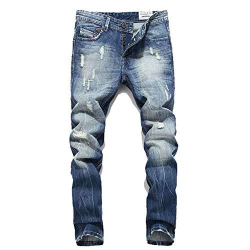 Preisvergleich Produktbild Männer gerade Jeans Slim Fit Kaputte Hose Reißverschlussöffnung Tasche Große Größe Mittlere Taille Abgenutzt Gewaschen Herren Business Jeans, 42
