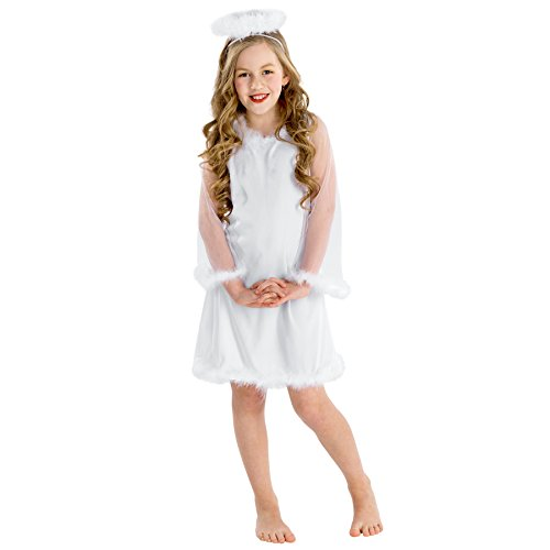 Mädchen Kostüm Christkind | Verspieltes Kleid mit Trompetenärmel | inkl. Heiligenschein (10-12 Jahre | Nr. 300276) (Mädchen Verspieltes)