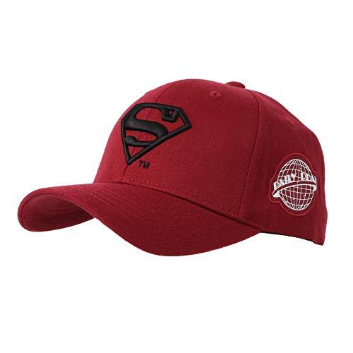 WITHMOONS Baseballmütze Mützen Caps Kappe Superman Shield Embroidery Cotton Baseball Cap AC3260 (Red, L) Dc Wool Cap