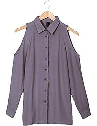 85c75a4762a2a8 Langarmshirt Damen Oberteile Chiffon Blusen Hängender Hals Cold Shoulder  T-Shirt Bluse Lose Tops