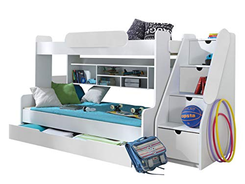 Etagenbett Weiß Mit Bettkasten : Kinder etagenbett weiß grau mit bettkasten treppe und