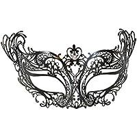 """La Fucina dei Miracoli, Maschera in metallo nero con strass Swarovski® originali, """"Onda"""""""